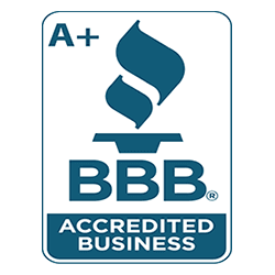 Image of Better Business Bureau Accredited Business with A+ Rating badge.