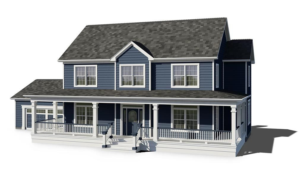 image of two story house on white background with blue siding