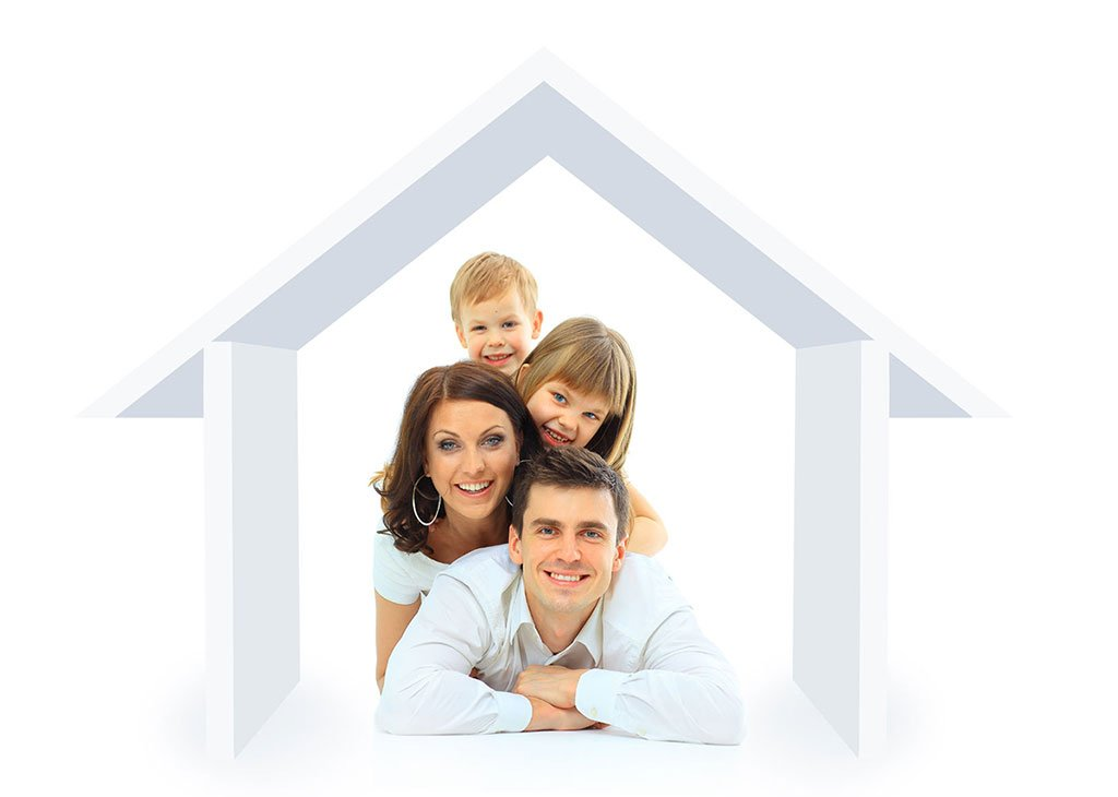 Image of happy family in a home.