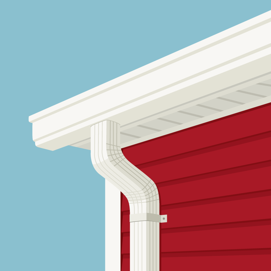 Illustration of red siding house and white gutters